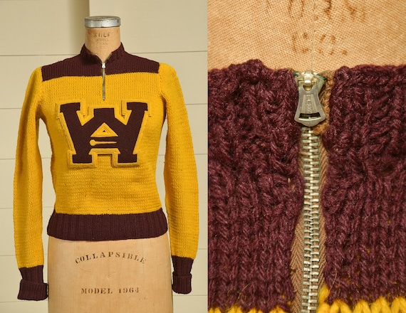 1930s Cheer Sweater Burgundy & Gold Wool Knit Stad