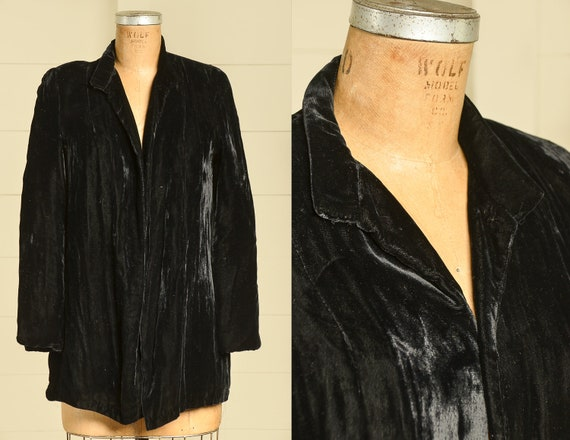 1940s Black Velvet Flapper Coat Mid Length Opera C