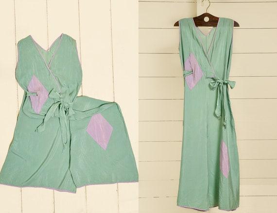 1930s Beach Pajamas Seafoam Green Silk Lounge Jum… - image 1