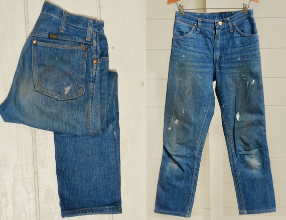 1960s Maverick Jeans Indigo Blue Denim High Waiste