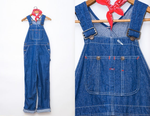 70s Overalls Dark Denim Workwear Overalls W 34