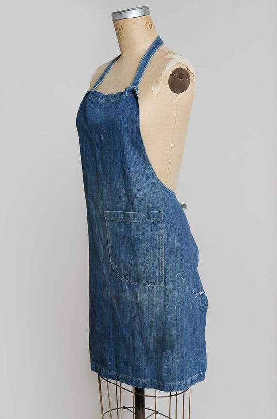 1940s Indigo Selvedge Denim Shop Apron Workwear G… - image 3