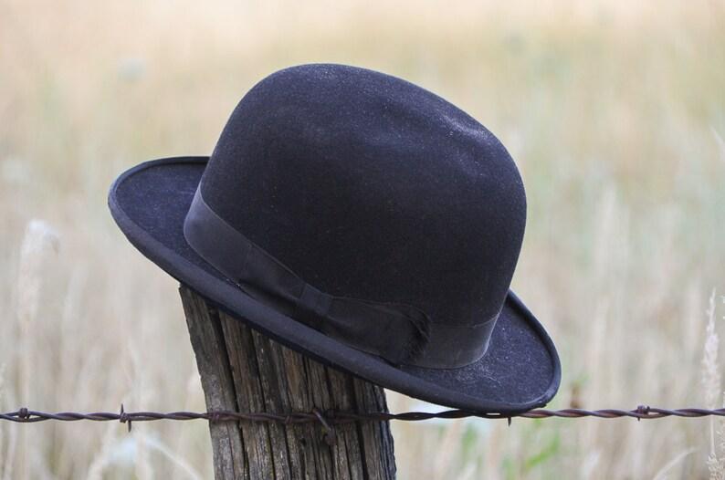 5c5cc973307 1910 Era Derby Hat Danbury Hatter Co Black Felt Mens Dress