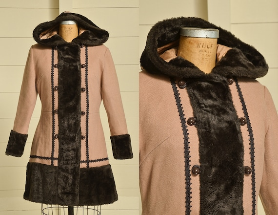 70s Princess Coat Faux Fur with Wool Button Down H