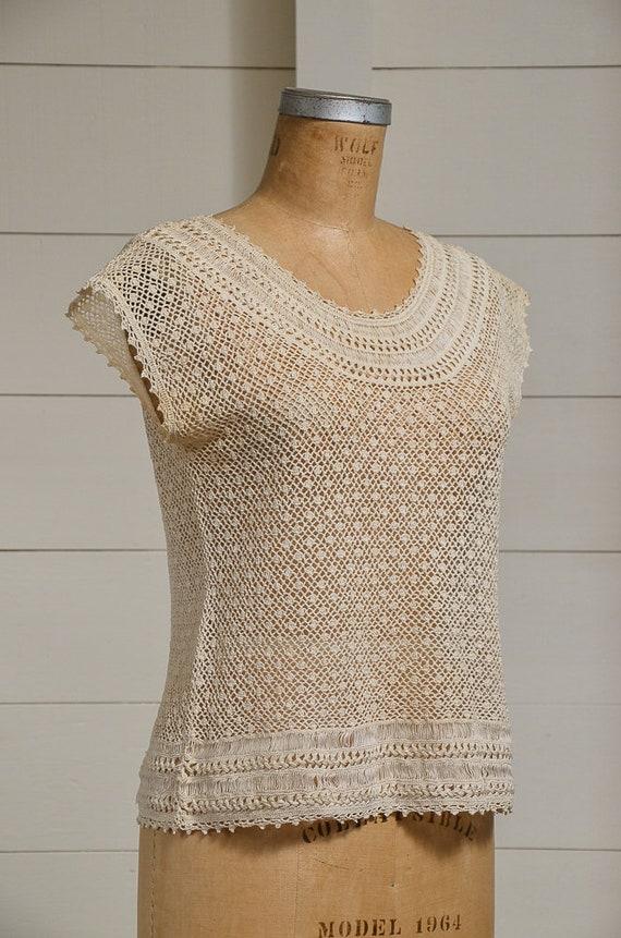 Antique Crochet Blouse Ivory Cotton Button Back B… - image 2