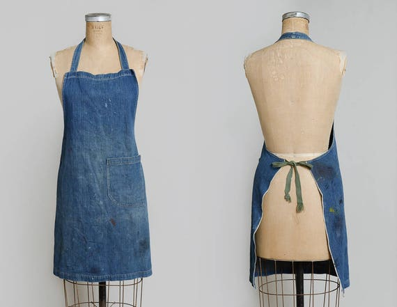 1940s Indigo Selvedge Denim Shop Apron Workwear Ga