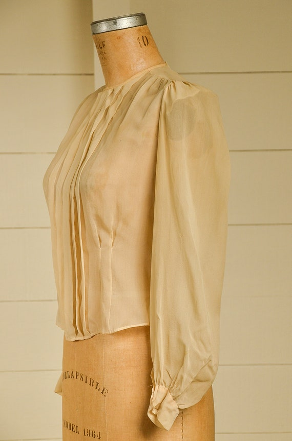 Antique Silk Blouse Sheer Ivory Button Back Pleat… - image 3