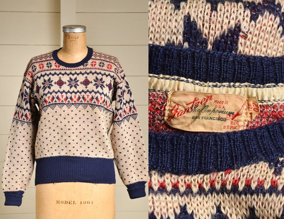 1940s Jantzen Snowflake Sweater Red White & Blue W