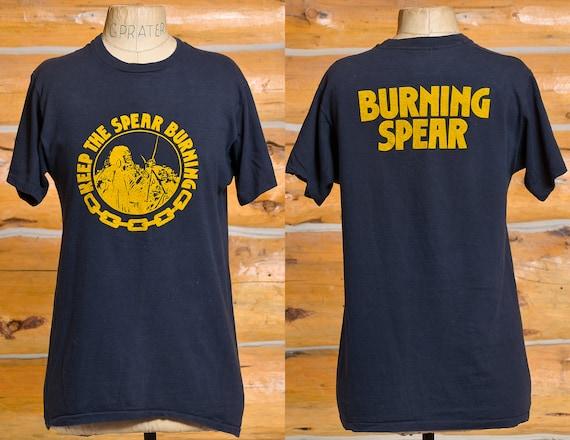 1980s Burning Spear T Shirt Front & Back Print Bla