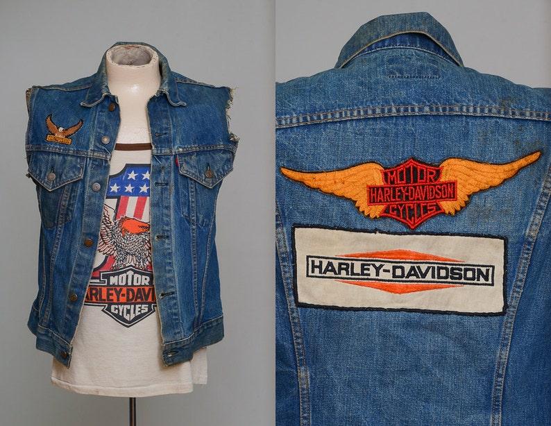 913d5076bc78 70s Harley Davidson Patch Levis Big E Indigo Denim Biker Vest