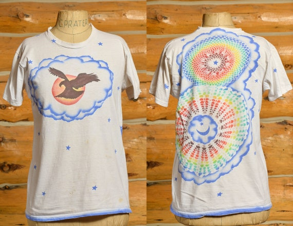1970s Airbrush T Shirt Front and Back Eagle w/ Ra… - image 1