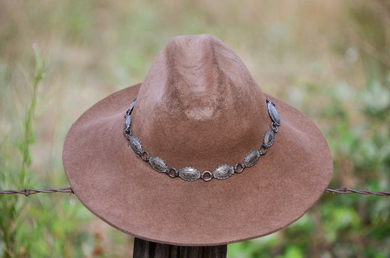9f0c4d17517 Vintage Distressed Western Hat Silver Concho Hat Band Brown