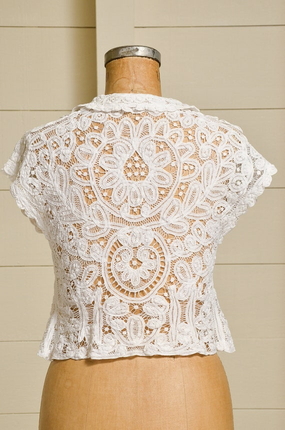 Antique Lace Blouse Victorian Revival White Cotto… - image 4