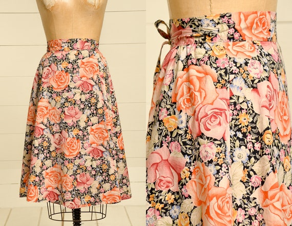 70s Rose Wrap Skirt Pink & Black Cotton High Waist