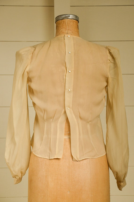 Antique Silk Blouse Sheer Ivory Button Back Pleat… - image 4