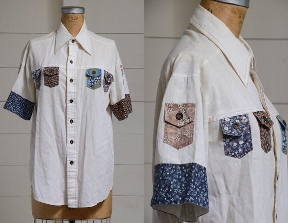 70s Hippie Shirt Button Down Patchwork Pocket Hipp