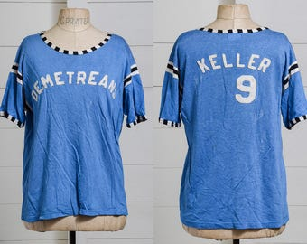 1950s Rayon Jersey Blue and Black Post Athletic Jersey Felted T Shirt
