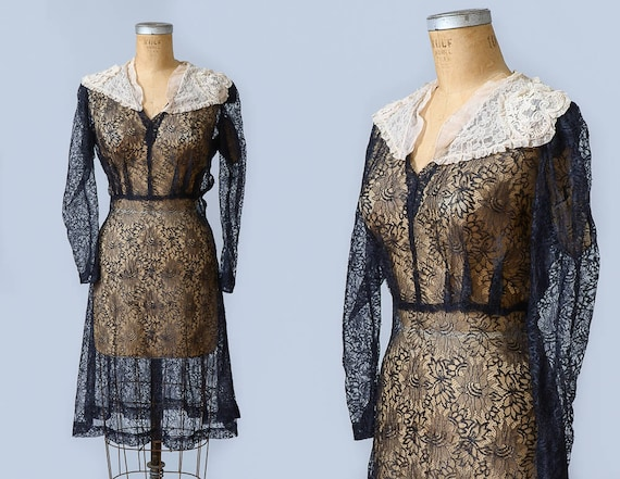 1930s Black Lace Sheer Black Floral with Ivory Hea