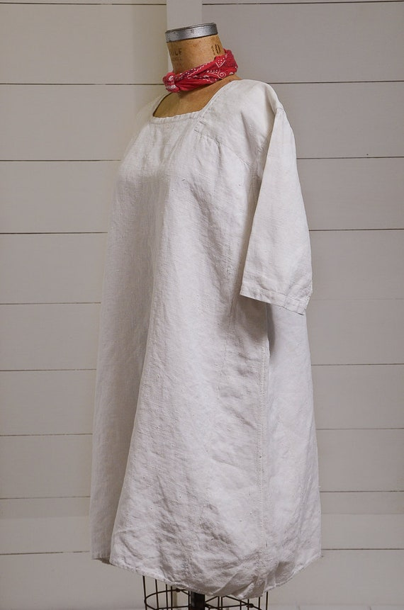 Antique French Linen Cotton Smock Dress White Wei… - image 3