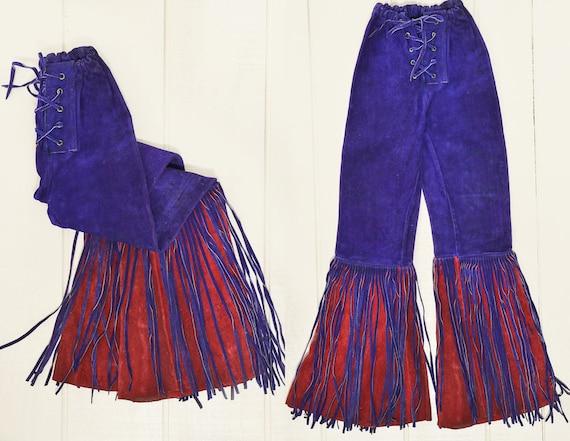 60s Leather Fringe Pants Red & Purple Custom Leath