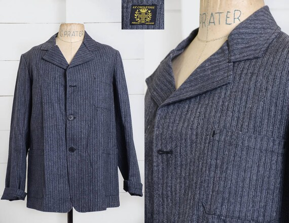 1940s Deadstock French Chore Jacket Workwear Herr… - image 1