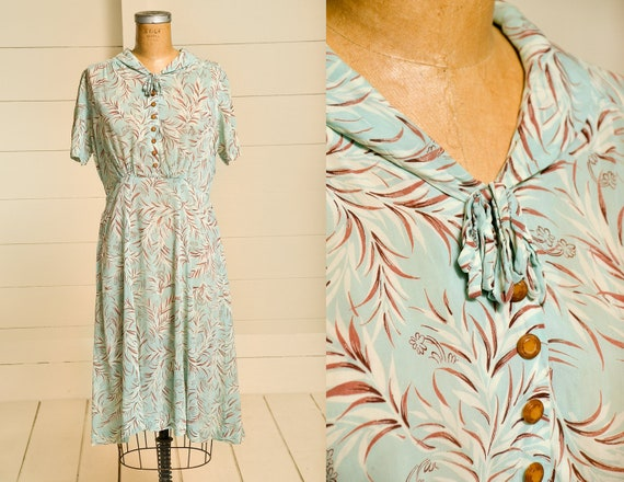 1930s Silk Robins Egg Blue Garden Dress Ruffled Co