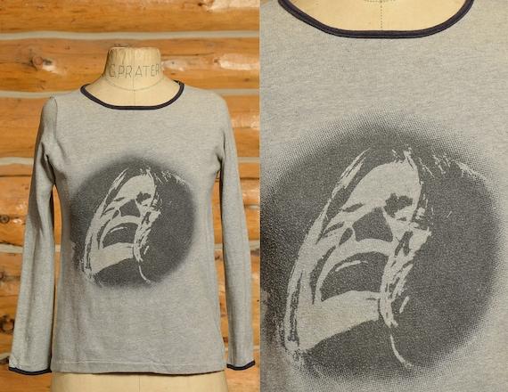 1960s Janis Joplin Long Sleeve Grey Cotton Hippie