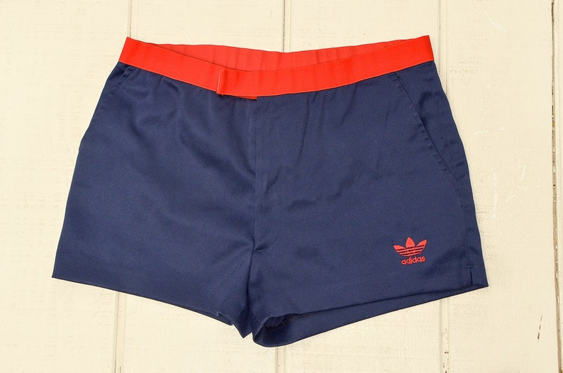 974e42c7a0 80s Adidas Trefoil Blue and Red Running Track Shorts Made in USA W 32
