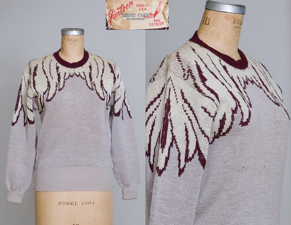 1940s Jantzen Angel Wing Sweater Rare Double Knit
