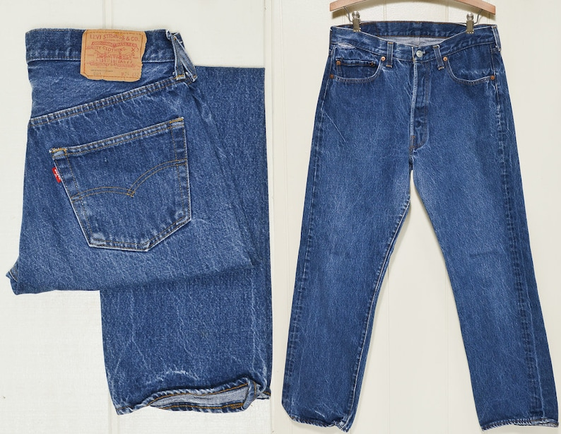 48fd7816 Vintage Levis 501 Made in USA Button Fly High Waisted Blue   Etsy