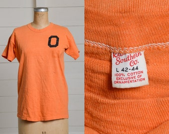 1950s Cotton Jersey Russell Southern Orange and Black Athletic T Shirt