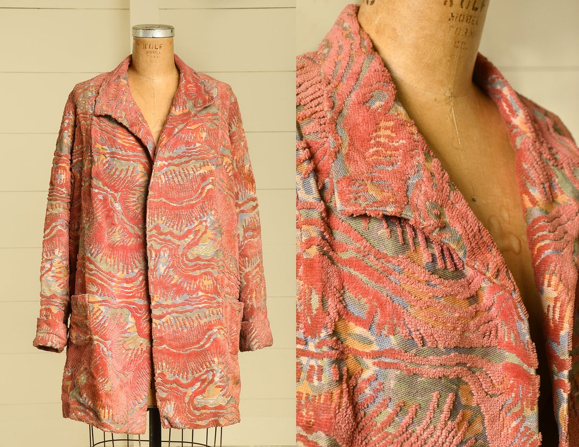 1920s Carpet Jacket Bohemian Tapestry Coat Blush Rose Floral Flapper