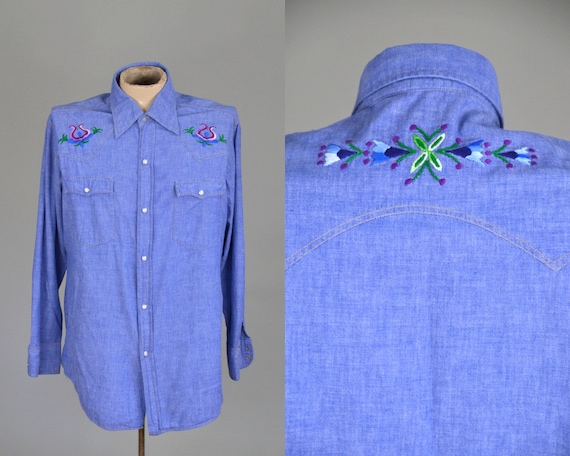 70s Embroidered Chambray Denim Button Down Western