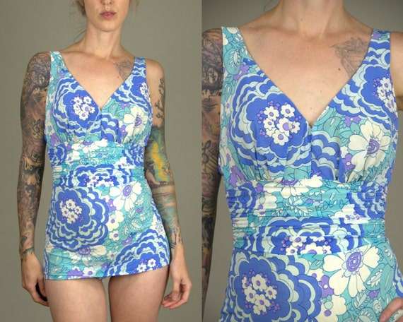 60s Skirted Swimsuit Catalina Psychedelic Bombshel