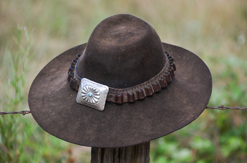 e003289287b Vintage Distressed Western Hat w  Sterling   Turquoise Concho