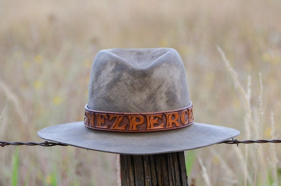 Vintage Distressed Western Hat with Nez Perce Tooled Leather  28e41fb55ed