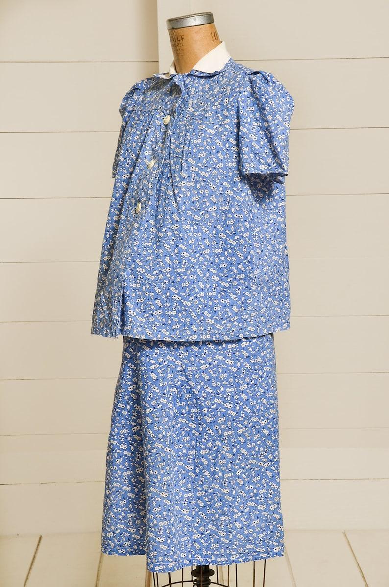 1930s Maternity Dress Two Piece Periwinkle Cotton Floral Skirt /& Jacket Dress Set