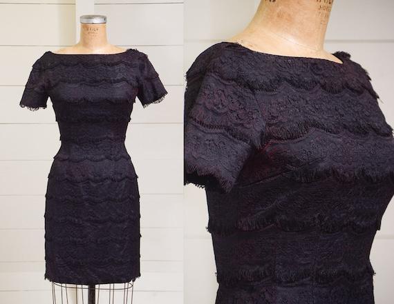 1950s Black Lace Fringe Cocktail Dress Jonathan Lo