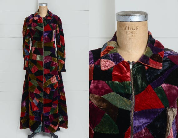 1920s Velvet Patchwork Quilt Coat Full Length Dust