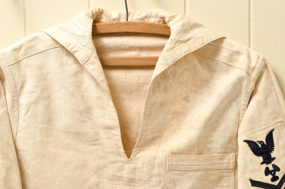 1930s Navy Cotton Smock Distressed Nautical Bibbe… - image 2