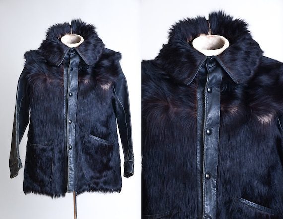 1930s RARE King of Fur Leather Fur Work Jacket