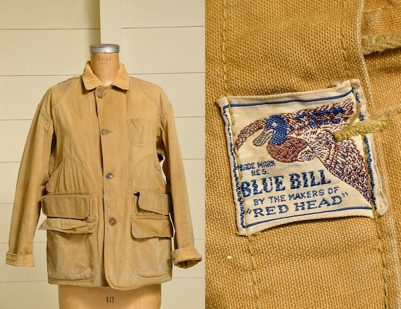 1940s Blue Bill Hunting Jacket Brown Canvas Red He