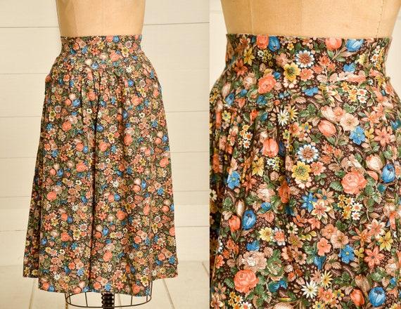 1970s Prairie Skirt Brown & Rust Floral Bouquet Pr