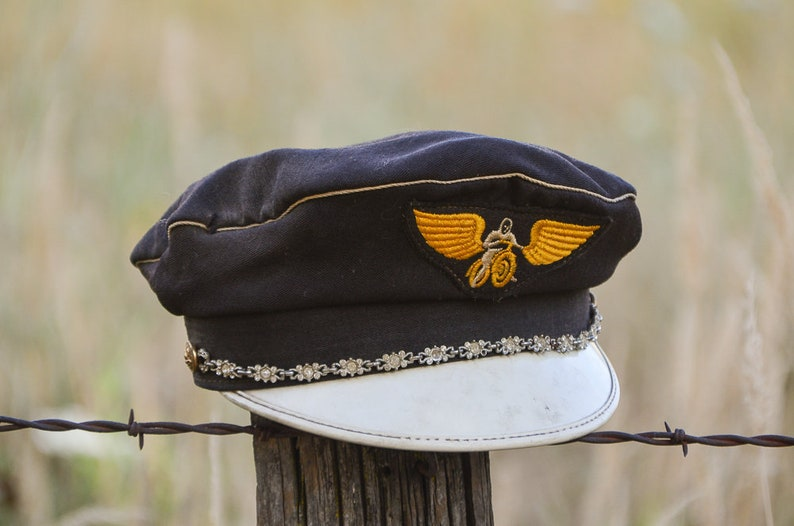 b905afb90a070 1950s Harley Davidson Cap Road Captain Motorcycle Riding Hat
