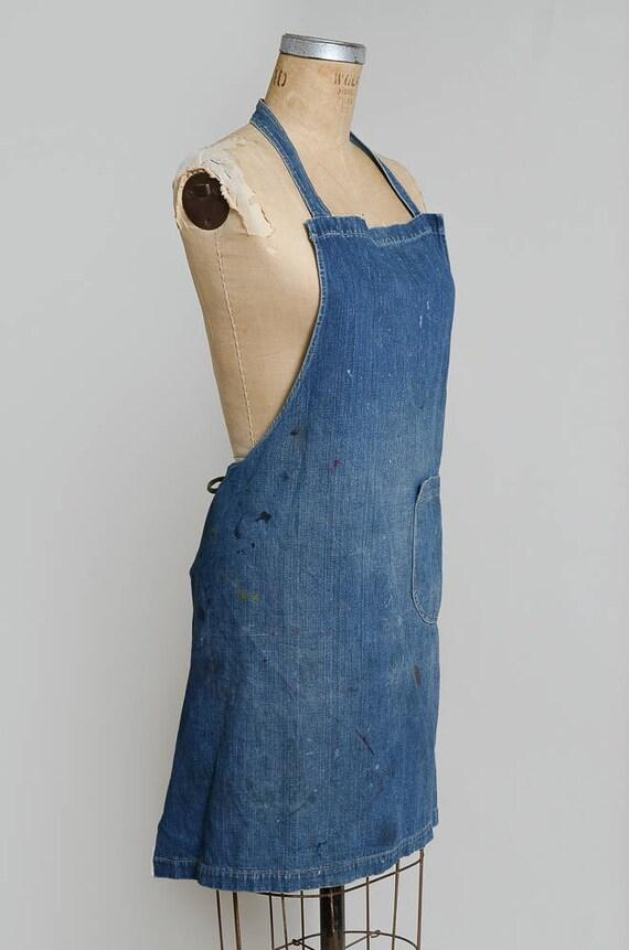 1940s Indigo Selvedge Denim Shop Apron Workwear G… - image 4