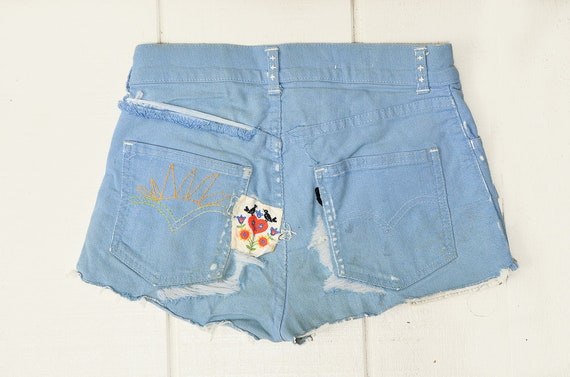 60s Embroidered Levis Hippie Distressed Patched Up