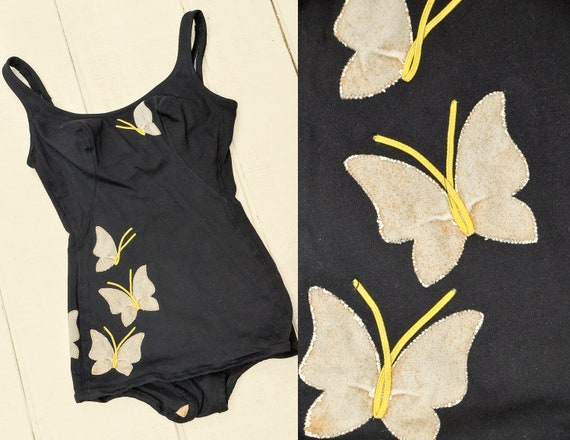 1950s Butterfly Swimsuit DeWeese Designs Open Back