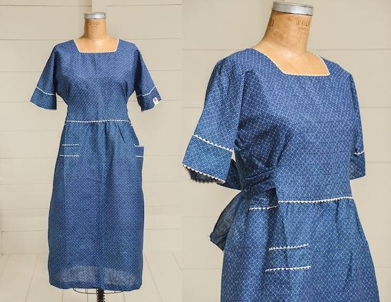 Antique Calico Dress 1880 Deadstock Indigo Blue Co