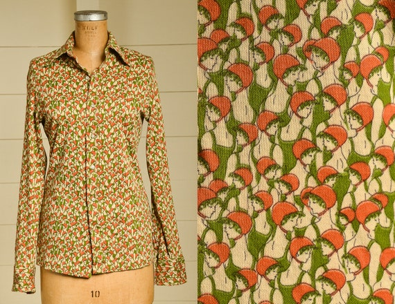 70s Novelty Print All Over Print Button Down Blous