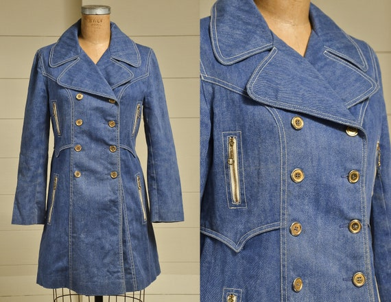 70s Denim Pea Coat Doubled Breasted Mod Princess Coat by Etsy
